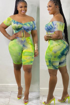 Green Polyester Fashion Sexy adult Ma'am One word collar Tie Dye Draped Two Piece Suits Draped Plus Size