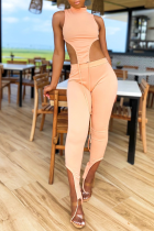 Pink Sexy Solid Split Joint Turtleneck Sleeveless Two Pieces