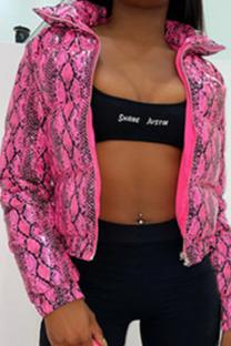 Pink Casual Animal Print Split Joint Turndown Collar Outerwear