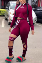 Wine Red Sportswear Print Hollowed Out Split Joint Hooded Collar Long Sleeve Two Pieces
