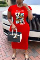 Red Casual Short Sleeves O neck Sheath Knee-Length Print Dresses