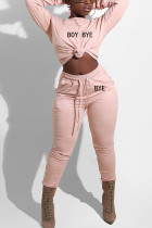 Pink Fashion Sexy Adult Polyester Letter Print Letter O Neck Long Sleeve Regular Sleeve Regular Two Pieces