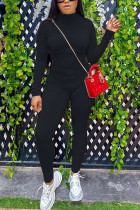 Black Fashion Casual Solid Cotton Long Sleeve O Neck Jumpsuits