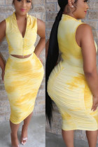 Yellow venetian Fashion Sexy adult Ma'am Print Draped Zippered Two Piece Suits pencil Sleeveless Two Pieces