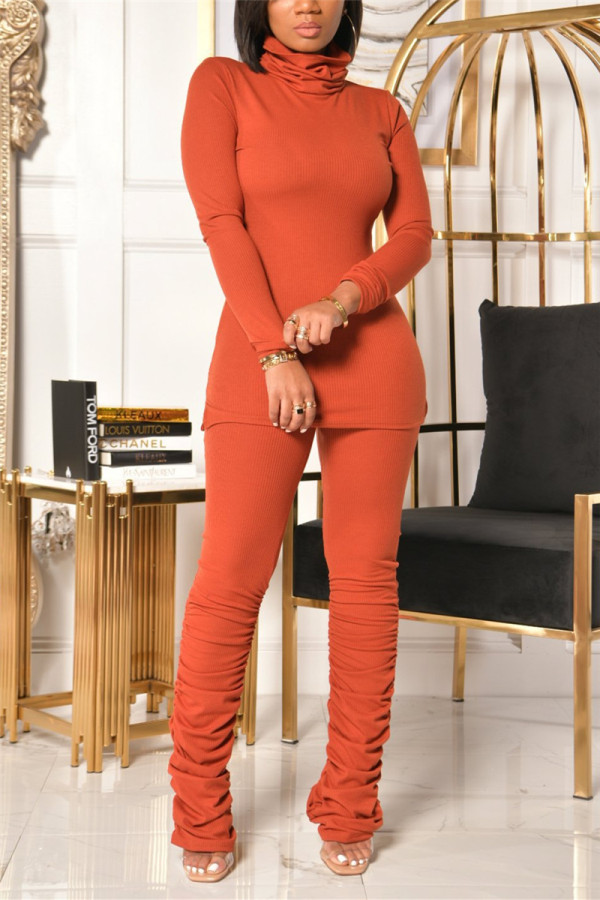 Orange Fashion Casual Solid Fold Turtleneck Long Sleeve Two Pieces