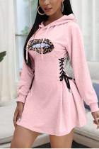 Pink Sexy Polyester Print Bandage V Neck Long Sleeve Long Sleeve Dress Dresses