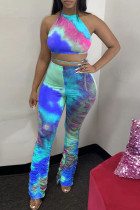 Blue Polyester Fashion Casual Print backless Tie Dye Two Piece Suits Loose Sleeveless Two Pieces