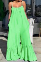 Green Sexy Print Solid Split Joint Spaghetti Strap Regular Jumpsuits