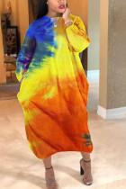 Orange Polyester Fashion Sexy adult Ma'am O Neck Tie Dye Plus Size