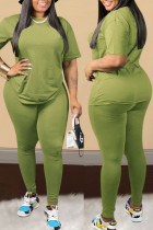 Green Sexy Solid Split Joint O Neck Plus Size