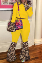Yellow Fashion Casual Print Split Joint O Neck Long Sleeve Two Pieces