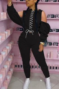 Black Fashion Sexy Adult Polyester Solid Bandage Split Joint O Neck Long Sleeve Cold Shoulder Regular Two Pieces