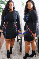 Black knitting adult Celebrities Fashion Ma'am O Neck Patchwork Solid contrast color Stitching Plus Size