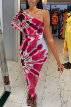 Red Polyester Fashion Sexy adult Ma'am Tie Dye Two Piece Suits pencil Long Sleeve Two Pieces