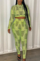 Green Fashion Casual Print Basic Half A Turtleneck Long Sleeve Regular Sleeve Short Two Pieces