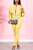 Yellow Fashion Casual Solid Strap Design O Neck Long Sleeve Two Pieces