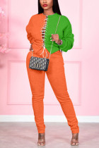 Orange Casual Solid Bandage Split Joint O Neck Long Sleeve Two Pieces