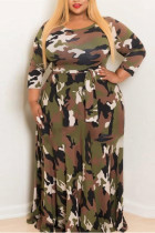 Army Green Fashion Casual Plus Size Camouflage Print Basic O Neck Printed Dress