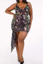 Multi-color Polyester Sexy V Neck Print asymmetrical Pattern Plus Size Dresses