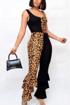 Black Fashion Sexy Print Polyester Sleeveless O Neck Jumpsuits