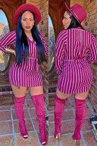 purple Fashion Long Sleeves O neck Hip skirt Mini Striped Long Sleeve Dresses