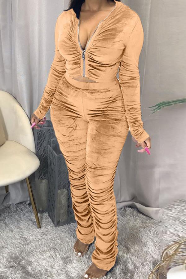 Khaki Fashion Sexy Adult Pleuche Solid Fold Hooded Collar Long Sleeve Regular Sleeve Regular Two Pieces