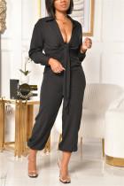 Black Fashion Casual Solid Turndown Collar Regular Jumpsuits