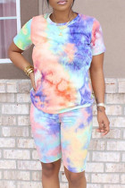 Multicolor Fashion Casual Print Tie-dye O Neck Short Sleeve Two Pieces