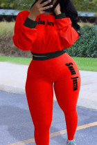 Red Casual Street Sportswear Polyester Letter Patchwork Print Solid Split Joint O Neck Long Sleeve Regular Sleeve Short Two Pieces
