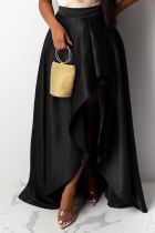 Black Casual Solid Slit Loose Mid Waist Type A Bottoms