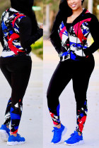 Red Blue Sexy Print Split Joint Hooded Collar Long Sleeve Two Pieces