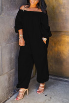 Black street Solid Polyester Long Sleeve one word collar Jumpsuits