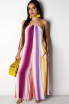purple Fashion Sexy Print Striped Patchwork Polyester Sleeveless O Neck Jumpsuits