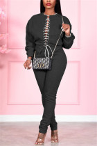 Black Fashion Casual Solid Strap Design O Neck Long Sleeve Two Pieces
