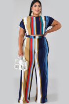 Royal blue Polyester Sexy O Neck Print Striped Two Piece Suits Stripe
