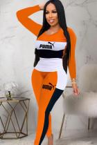 Orange venetian Casual Print contrast color Letter Two Piece Suits pencil Long Sleeve
