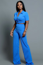 Blue Polyester Fashion adult Lightly cooked Two Piece Suits Button Solid Straight Short Sleeve Two-piece