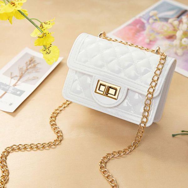 White Fashion Casual Chain Strap Crossbody Bag