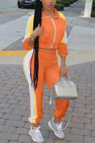 Orange Fashion Casual Patchwork Split Joint Turndown Collar Long Sleeve Two Pieces