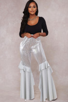 White Polyester Elastic Fly Mid Sequin Solid Loose Pants