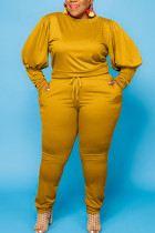 Ginger Sexy Solid O Neck Plus Size