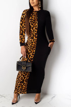 Brown Polyester Sexy Sleeve Long Sleeves Step Skirt Ankle-Length Print Dresses