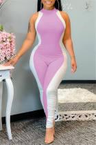 Pink Fashion Casual Patchwork Basic O Neck Regular Jumpsuits