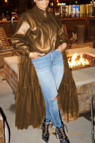 Brown Fashion Adult Faux Leather Solid Split Joint Turndown Collar Outerwear