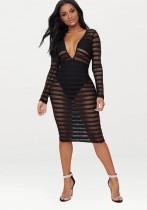 Black B Brief Cute V-Neck Long Sleeve Step skirt Knee Length Club Dresses