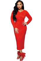 Red Sexy Long Sleeves O neck Slim Dress Ankle-Length diamonds
