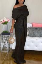 Black Fashion street Solid Short Sleeve one shoulder collar Jumpsuits