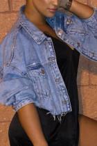 Deep Blue Fashion Casual Solid Cardigan Turndown Collar Long Sleeve Denim Coats