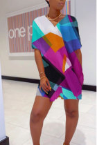 purple Polyester Fashion Sexy adult Patchwork Print Two Piece Suits pencil Short Sleeve Two Pieces