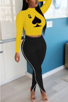 Yellow Polyester Fashion adult Ma'am OL Print Two Piece Suits pencil Long Sleeve Two Pieces
